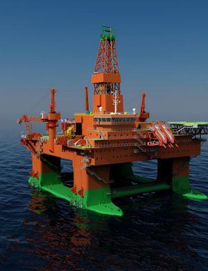 中国第七代半潜钻井平台合拢 作业水深全球第一