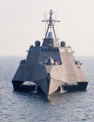 美军科幻战舰出海正面照:形似巨大海上堡垒